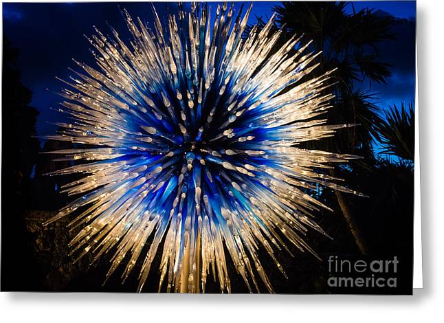 Blue Star At Night Greeting Card