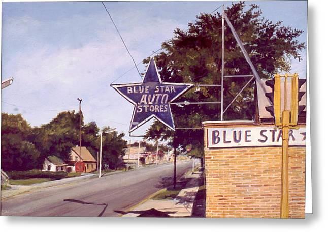 Blue Star Auto Greeting Card