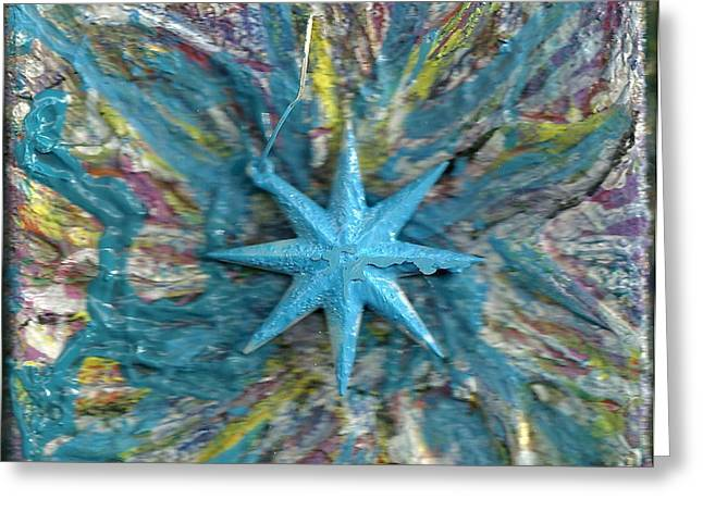 Blue Star Shining At Me Greeting Card by Anne-Elizabeth Whiteway
