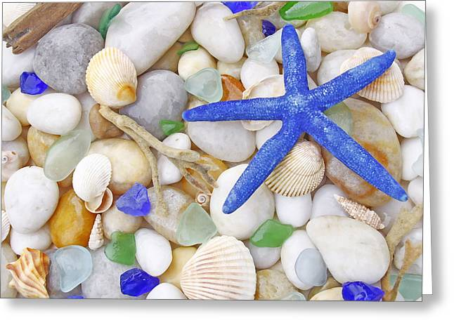 Blue Starfish Greeting Card by Kelly S Andrews