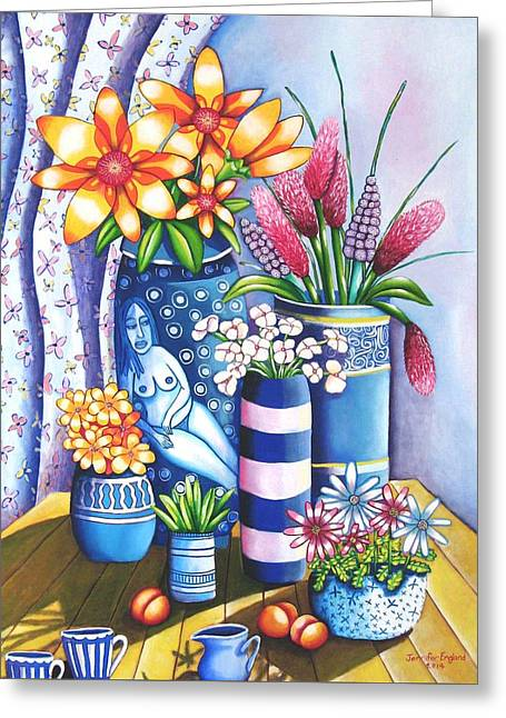 Blue Still Life Greeting Card by Jennifer England