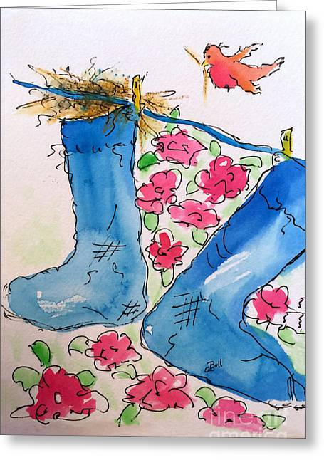 Blue Stockings Greeting Card