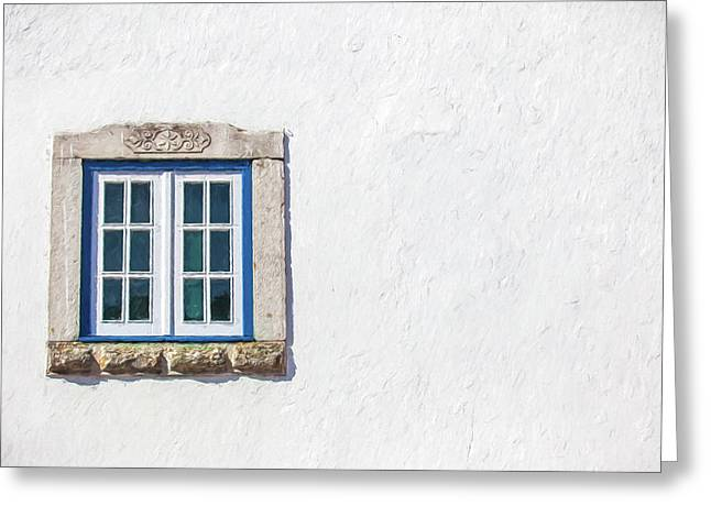 Blue Stone Window Of Obidos Greeting Card