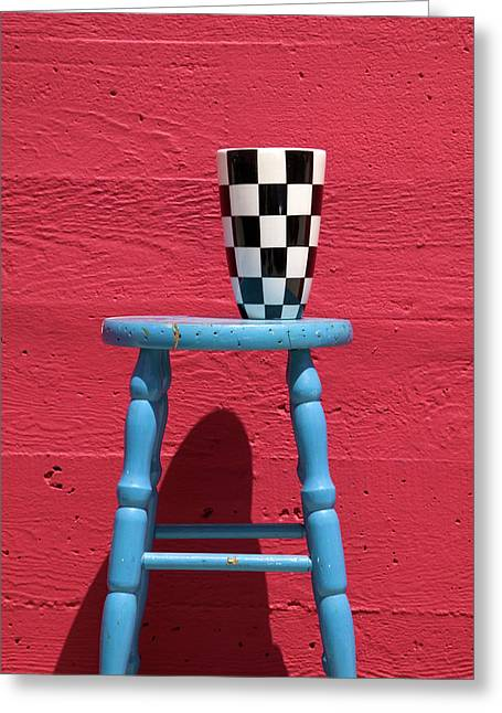 Stool Greeting Cards - Blue stool Greeting Card by Garry Gay