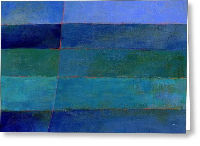Blue Stripes 3 Greeting Card by Jane Davies