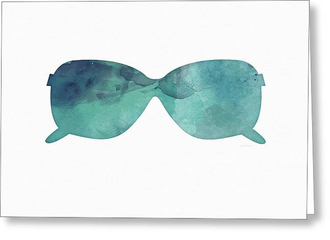 Blue Sunglasses 1- Art By Linda Woods Greeting Card