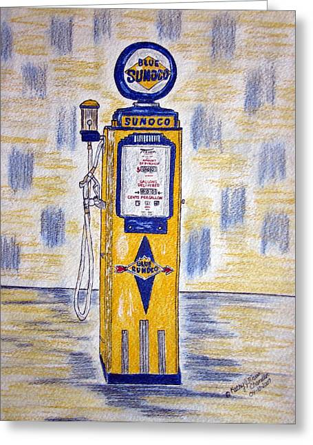 Greeting Card featuring the painting Blue Sunoco Gas Pump by Kathy Marrs Chandler