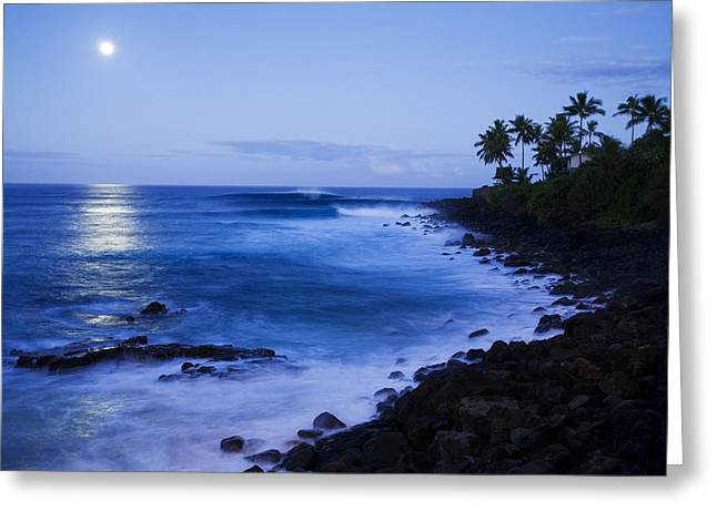 Blue Sunrise At Waimea Greeting Card by Dana Edmunds - Printscapes