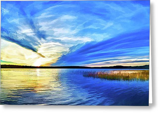Blue Sunset At Round Lake Greeting Card