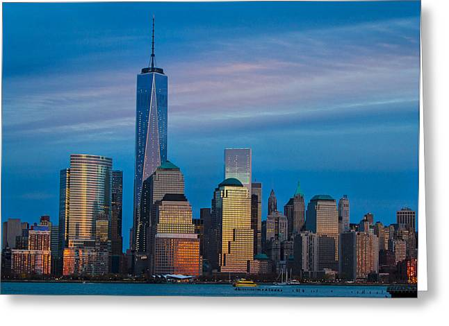 Blue Sunset At The World Trade Center Greeting Card by Eleanor Abramson