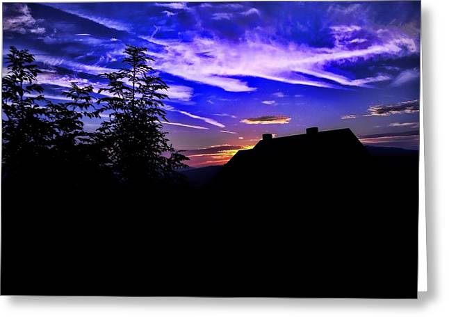 Greeting Card featuring the photograph Blue Sunset In Poland by Mariola Bitner