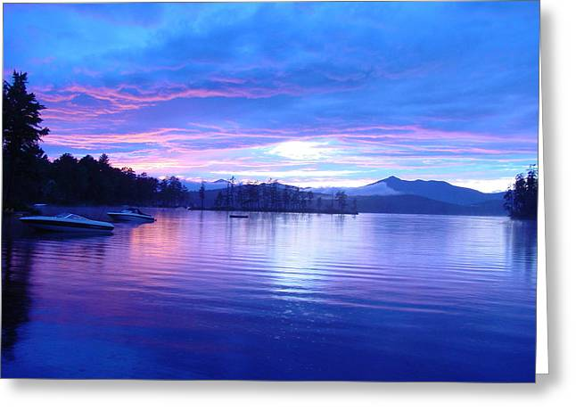 Blue Sunset Greeting Card by Katherine Huck Fernie Howard