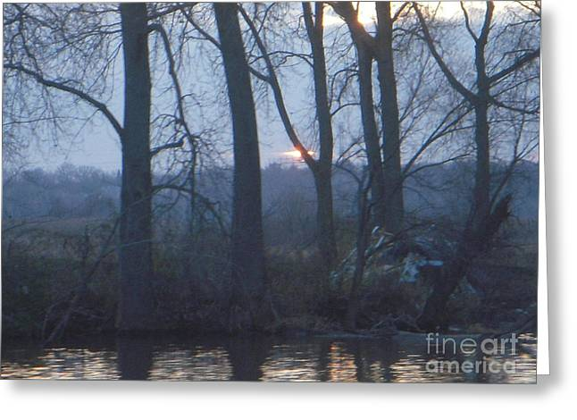 Blue Sunset On Fox River Greeting Card by Deborah Finley