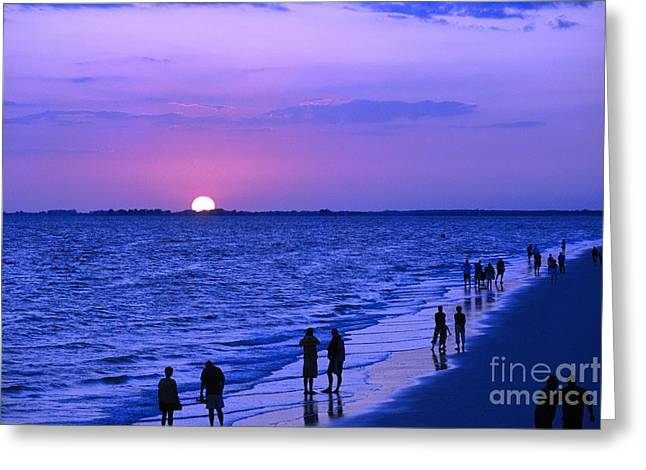 Blue Sunset On The Gulf Of Mexico At Fort Myers Beach In Florida Greeting Card