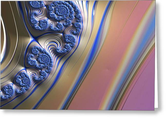 Greeting Card featuring the digital art Blue Swirly Fractal 2 by Bonnie Bruno