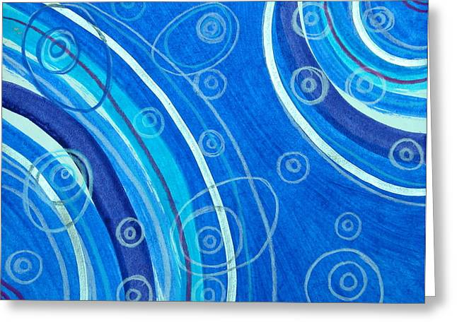 Blue Swril Number Seven Greeting Card by Nina Bravo