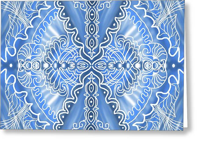 Blue Symetry Greeting Card