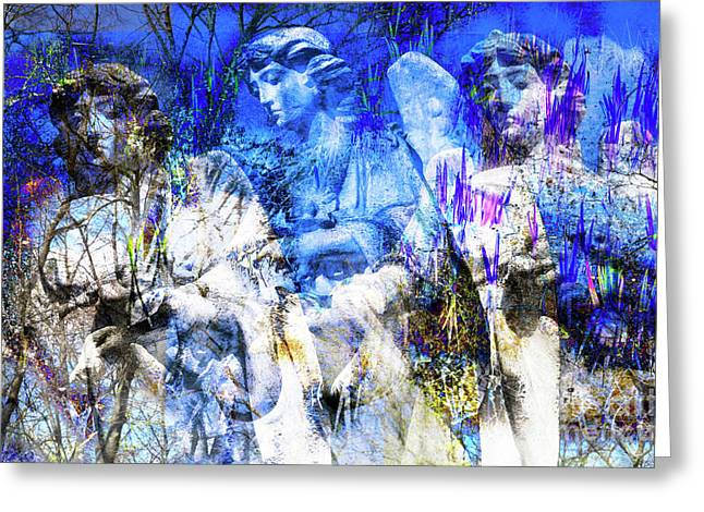 Greeting Card featuring the digital art Blue Symphony Of Angels by Silva Wischeropp