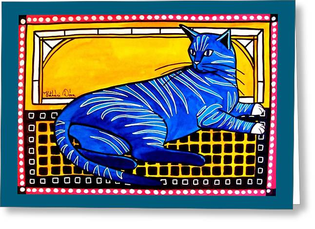 Blue Tabby - Cat Art By Dora Hathazi Mendes Greeting Card