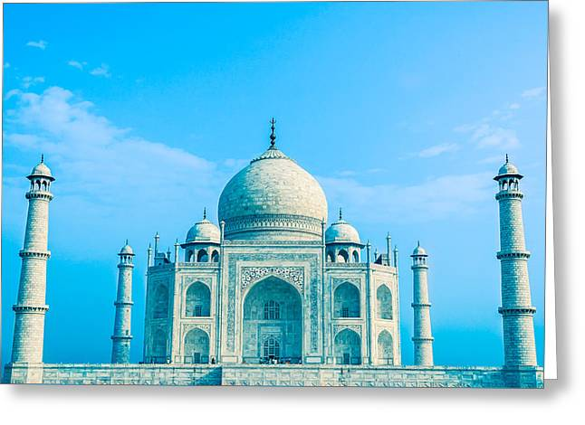 Blue Taj Mahal Of India Greeting Card by Nila Newsom
