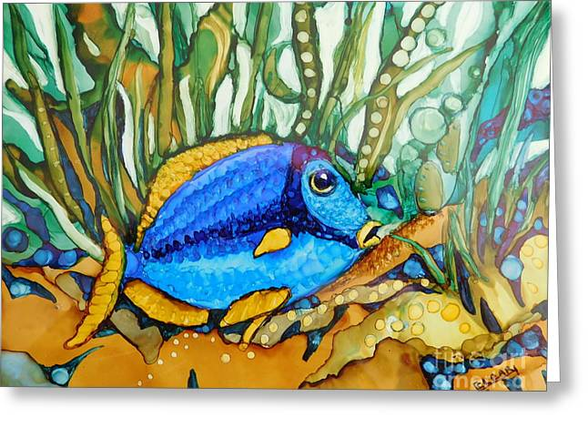 Blue Tang Greeting Card by Joan Clear