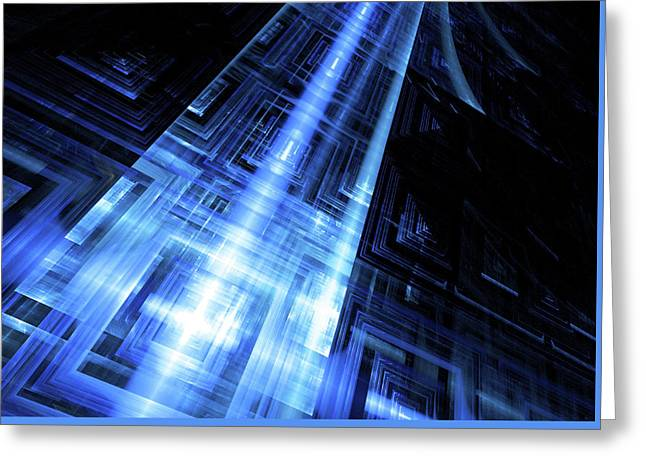 Blue Technology Abstract Background Greeting Card by StarLineArts