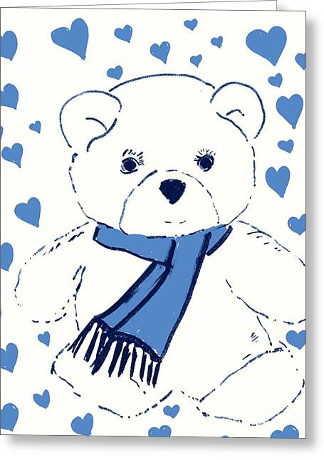Blue Teddy Bear Love Greeting Card