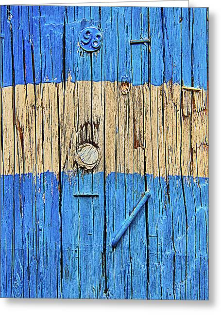 Blue Telephone Pole Greeting Card by Garry Gay
