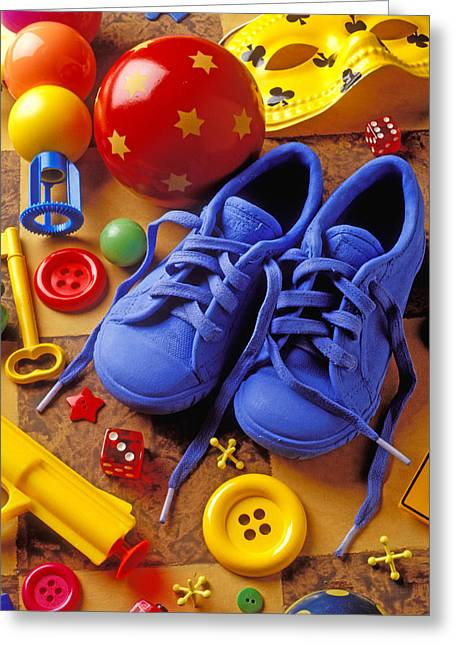 Juveniles Greeting Cards - Blue tennis shoes Greeting Card by Garry Gay