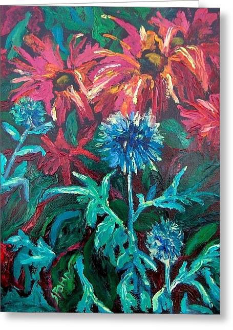 Blue Thistle And Bee Balm Greeting Card