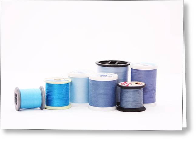 Blue Thread Greeting Card by Nancy Ingersoll