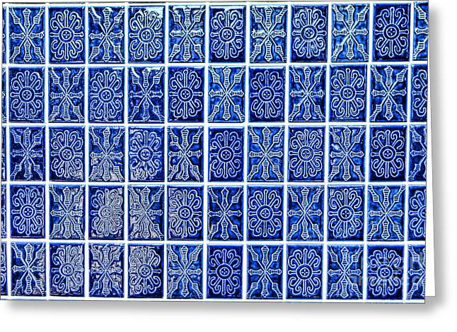 Blue Tile Wall Greeting Card by Olivier Le Queinec