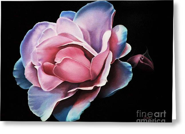 Blue Tipped Rose Greeting Card by Jimmie Bartlett