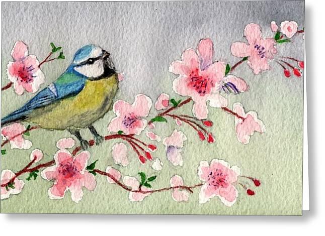 Blue Tit Bird On Cherry Blossom Tree Greeting Card