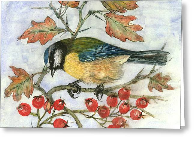 Blue Tit On Hawthorn Greeting Card by Nell Hill