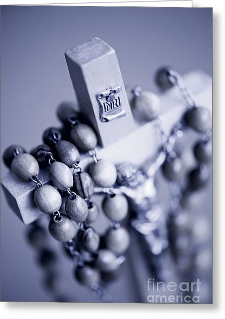 Blue Toned Rosary Made Of Wooden Greeting Card