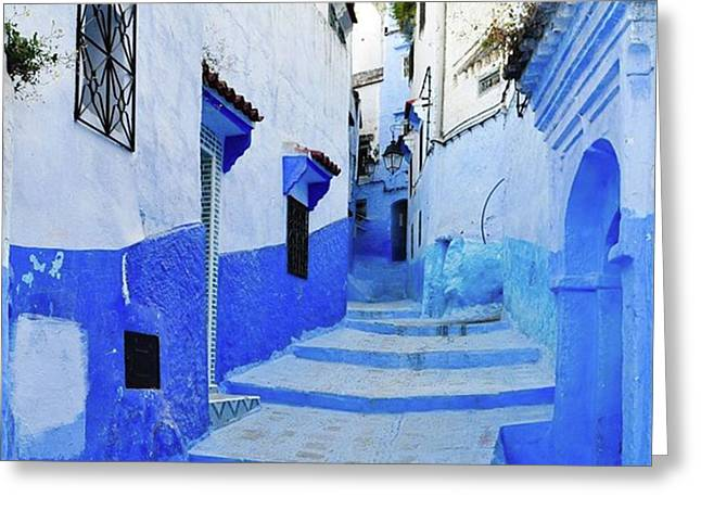 Blue Town(morocco) #mytravelgram Greeting Card by Seiji Hori