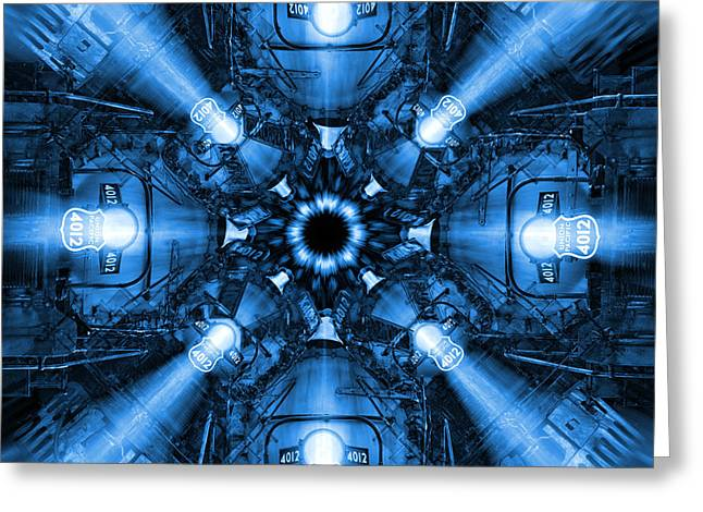 Blue Train Abstract 2 Greeting Card