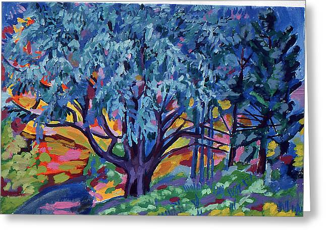 Blue Tree Far Country Greeting Card