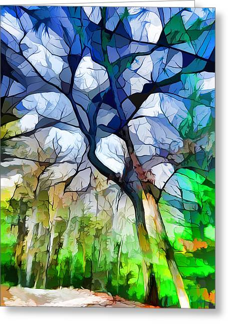 Blue Tree Greeting Card by Lilia D