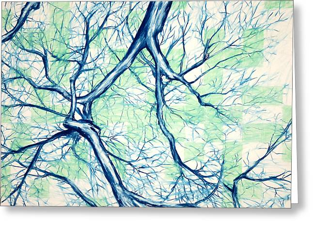 Blue Tree With Green Sky Greeting Card by John Terwilliger