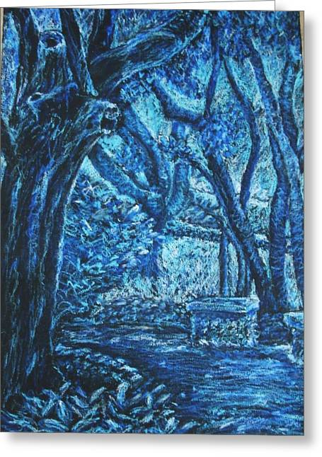 Blue Trees Greeting Card by Patricia Gomez