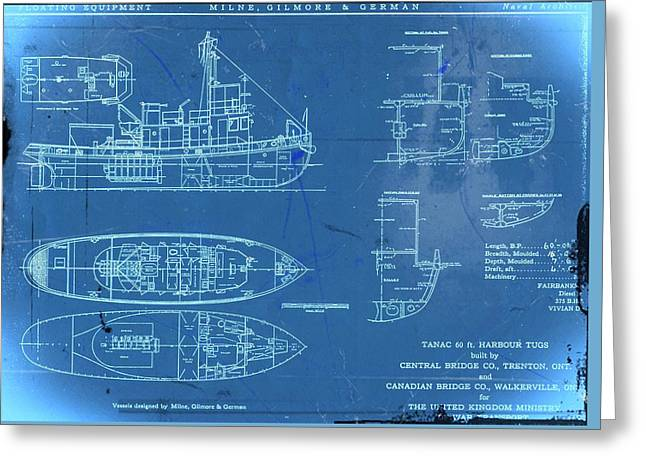 Blue Tugboat Blueprints Greeting Card