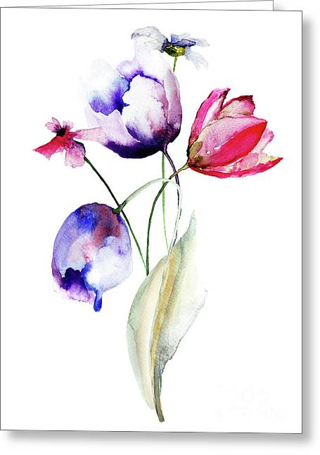 Blue Tulips Flowers With Wild Flowers Greeting Card