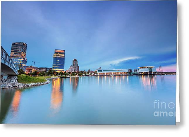 Blue Twilight In Milwaukee Greeting Card