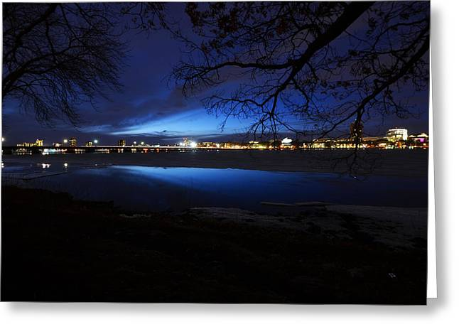 Blue Twilight Over The Charles River Greeting Card