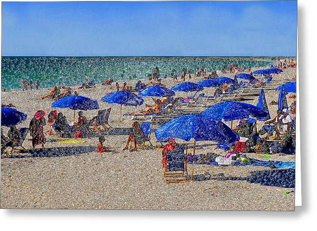 Sand Art Digital Art Greeting Cards - Blue Umbrella  Beach Greeting Card by David Lee Thompson