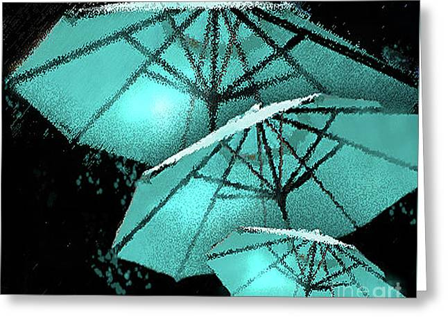 Blue Umbrella Splash Greeting Card