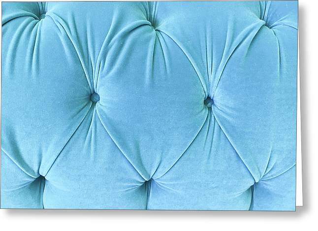 Blue Upholstery Greeting Card by Tom Gowanlock