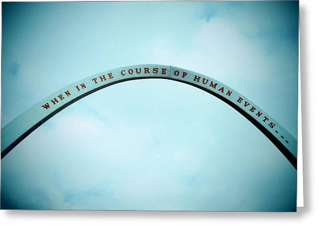 Blue U.s. Declaration Of Independence Arch Greeting Card by Tony Grider